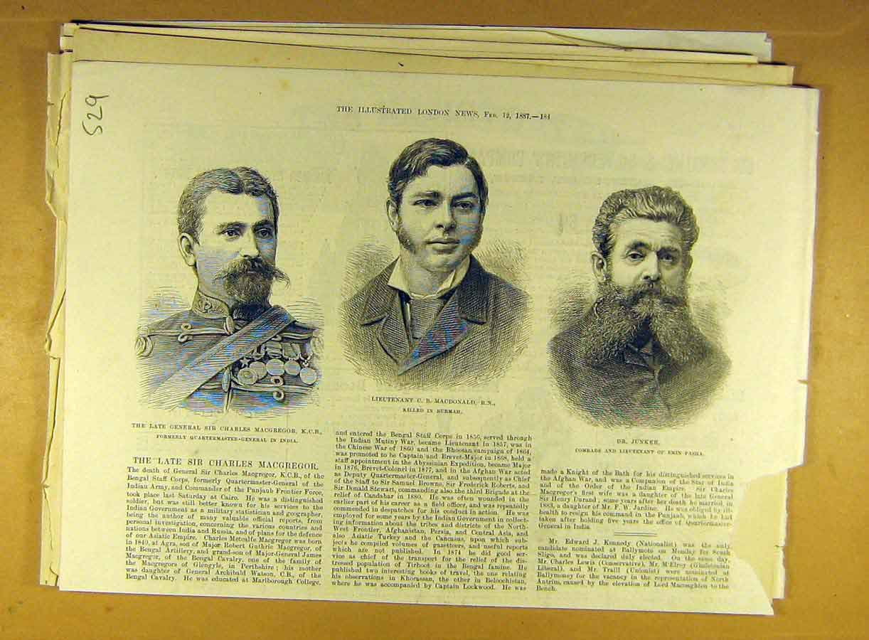 Print 1887 Macgregor Macdonald Junker Military Portrait 298791 Old Original
