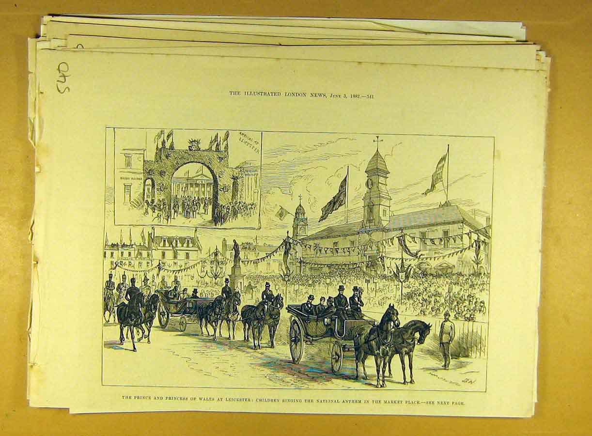 Print 1882 Prince Princess Wales Leicester Market Place 408791 Old Original