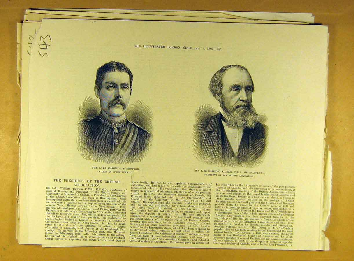 Print 1886 Portrait Major Trotter Dawson Montreal 438791 Old Original