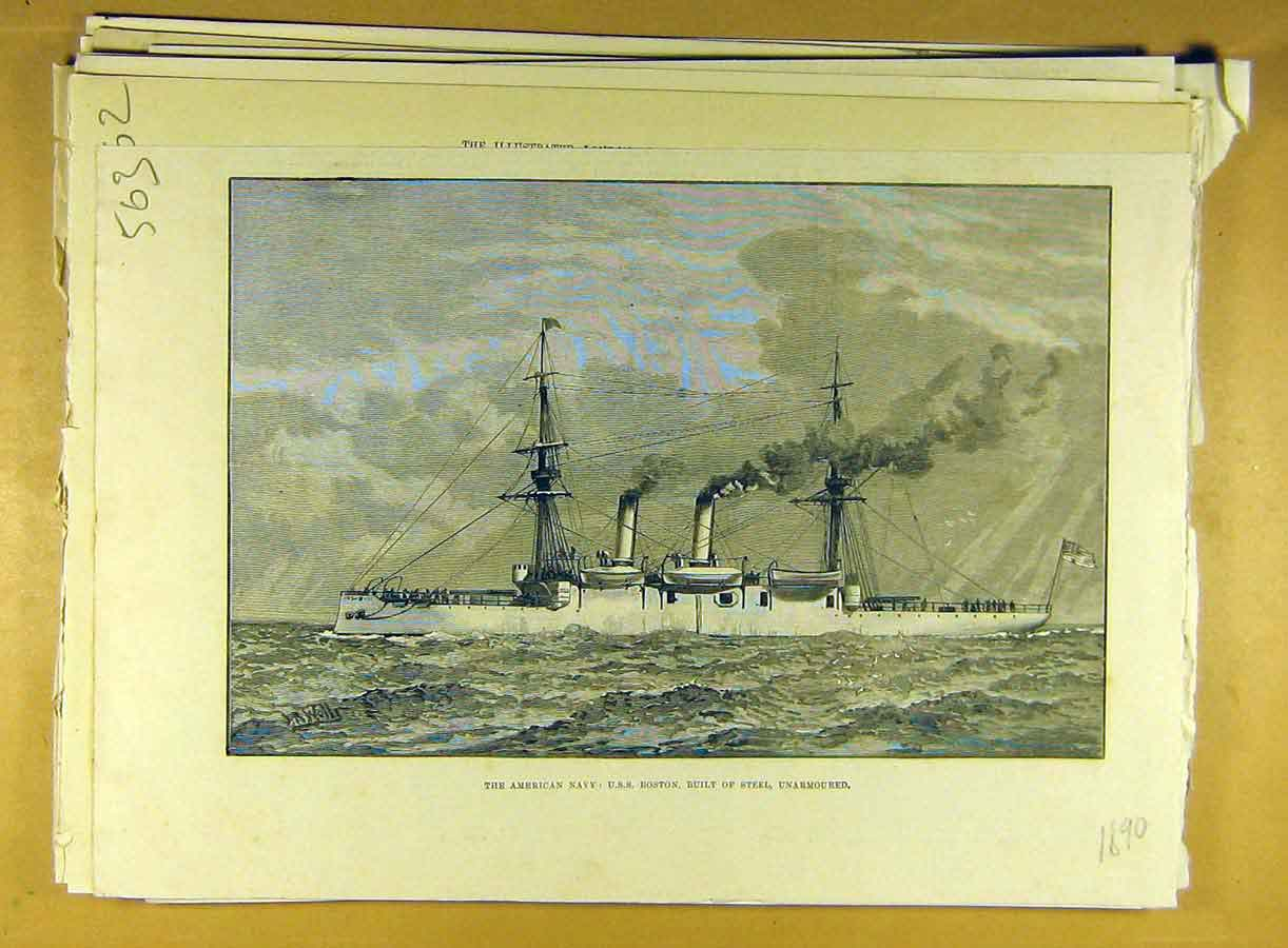Print 1890 American Navy Uss Boston Steel Unarmoured Ship 638791 Old Original