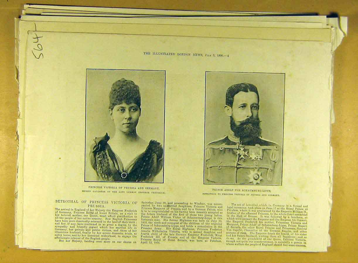 Print 1890 Princess Victoria Prussia Germany Prince Adolf 648791 Old Original