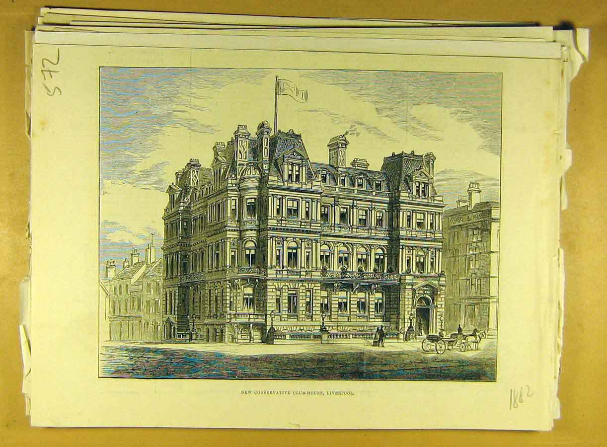 Print 1882 Conservative Club-House Liverpool Building 728791 Old Original