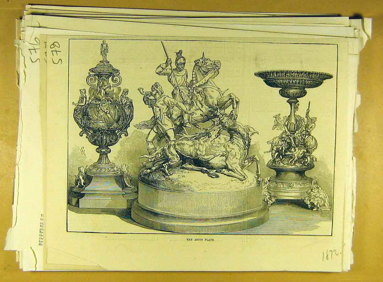 Print 1872 Ascot Plate Trophy Cup Racing Sport 788791 Old Original