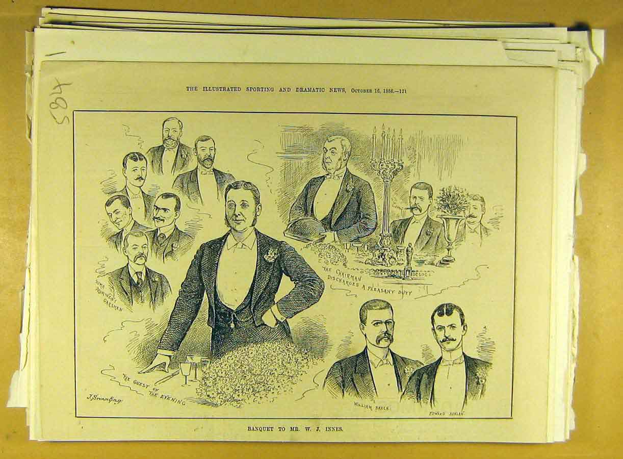 Print 1886 Banquet Innes Sketches Portrait 848791 Old Original