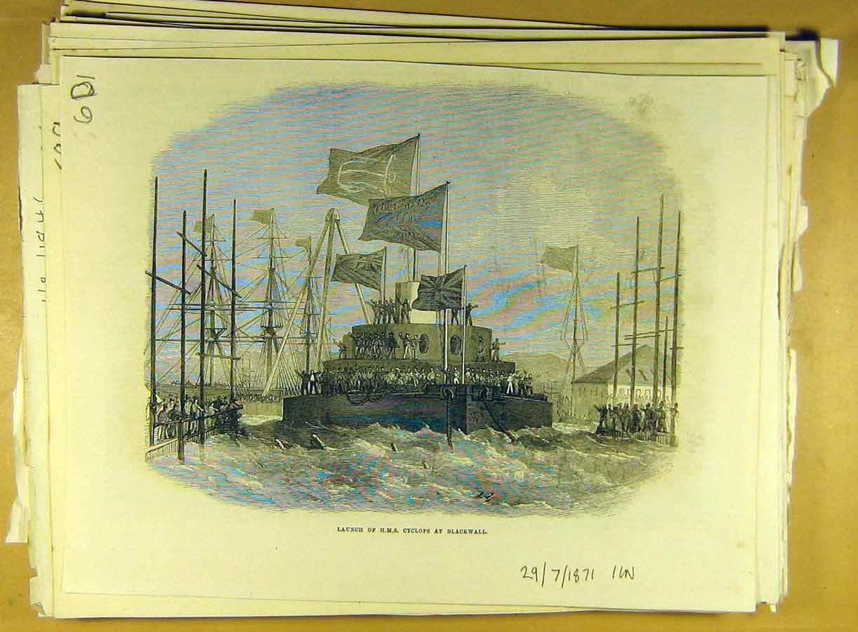 Print 1871 Launch Hms Cyclops Blackwall Naval Ship 018791 Old Original