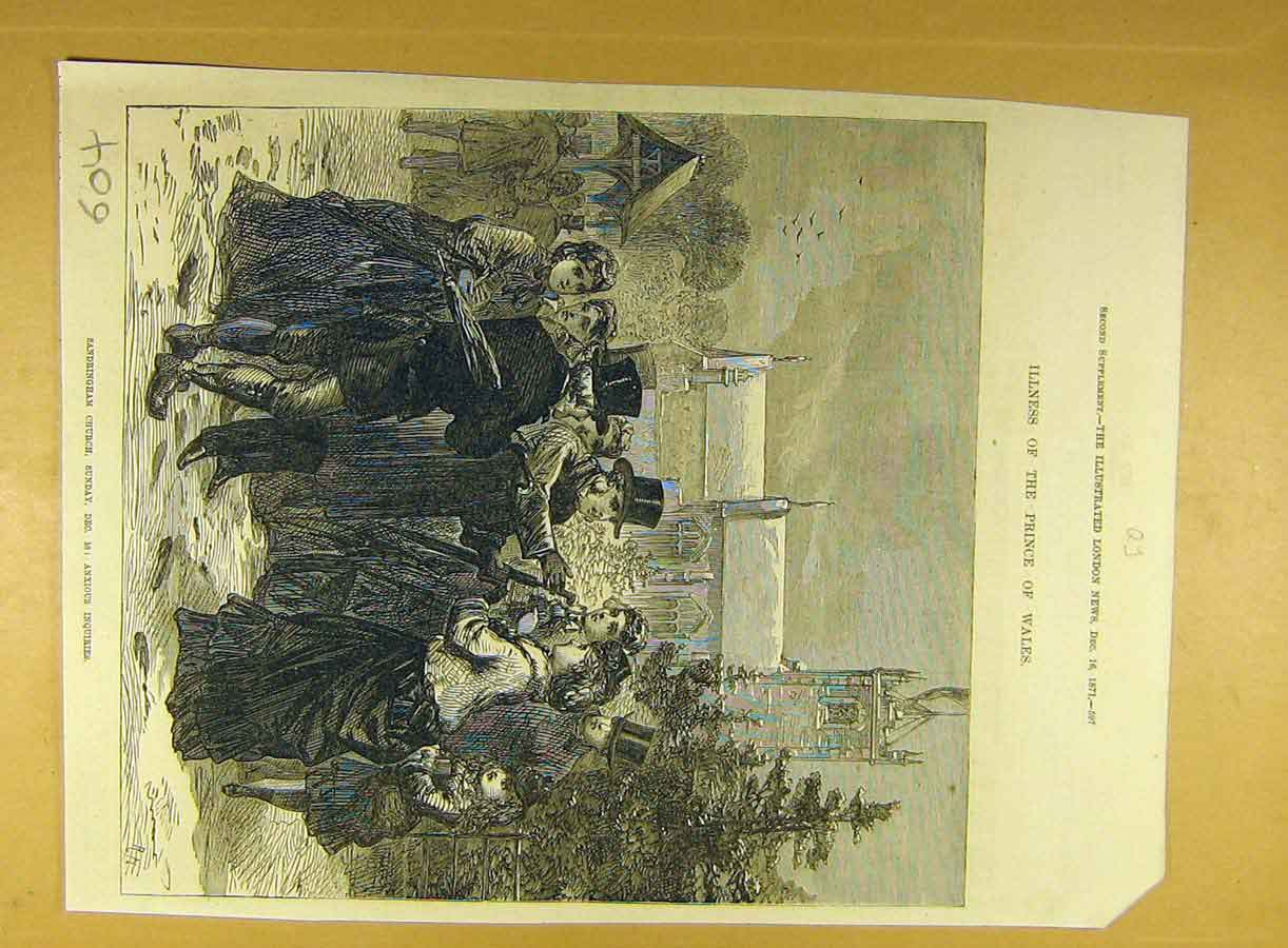 Print 1871 Sandringham Church Prince Wales Illness 048791 Old Original