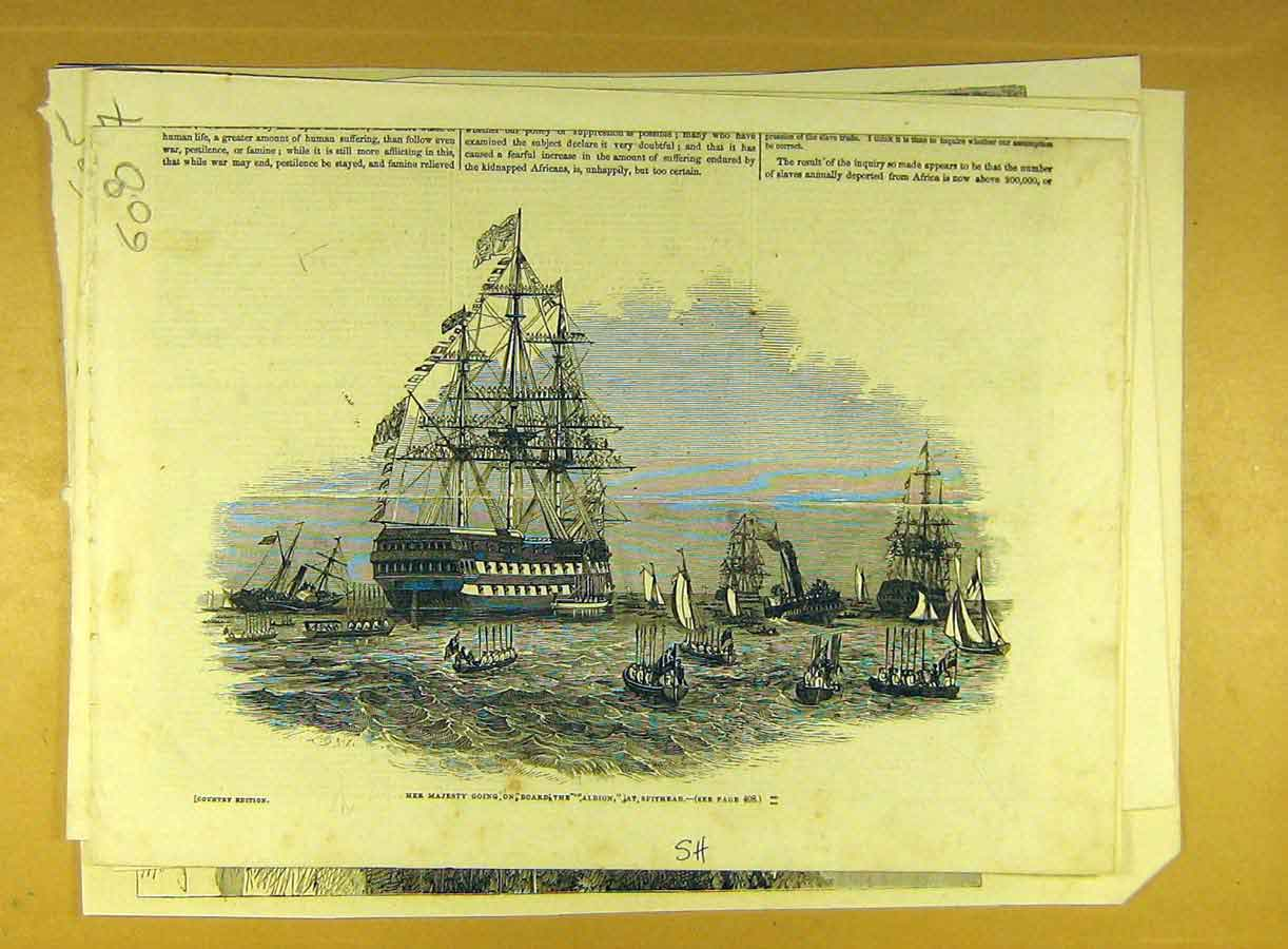 Print 1845 Albion Royal Visit Spithead Queen Naval 088791 Old Original