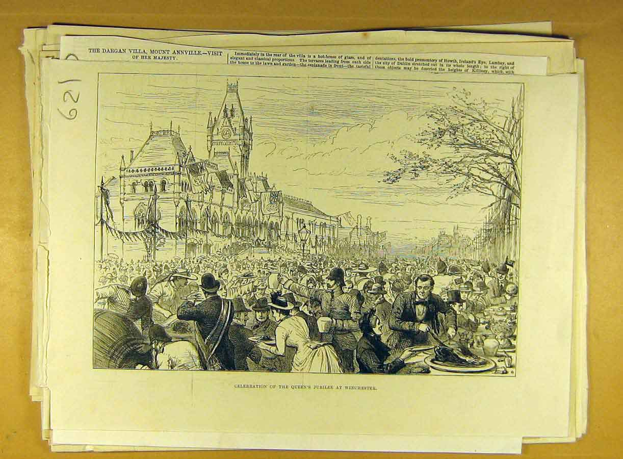 Print Queen Jubilee Winchester Celebration Street Festival 218791 Old Original