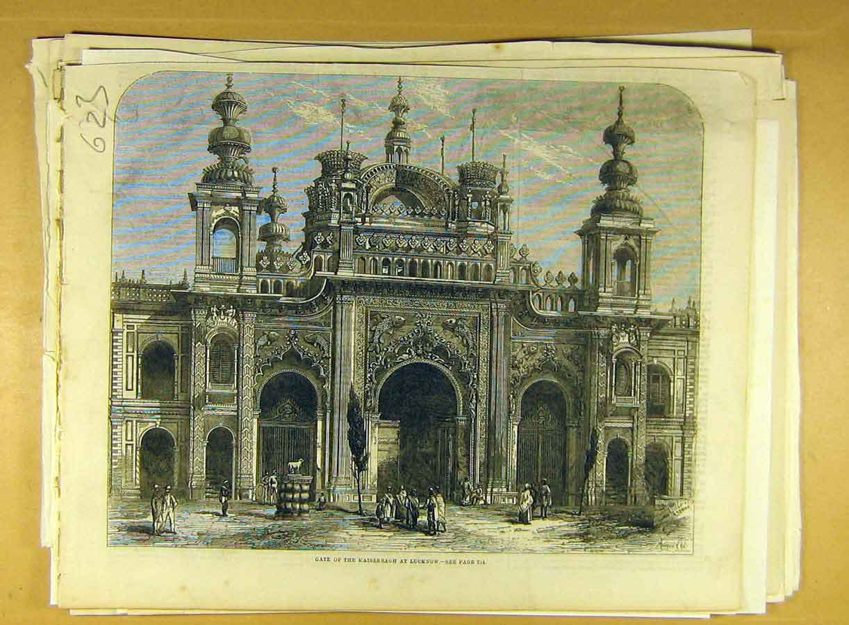 Print Gate Kaiserbagh Lucknow Building Architecture 238791 Old Original