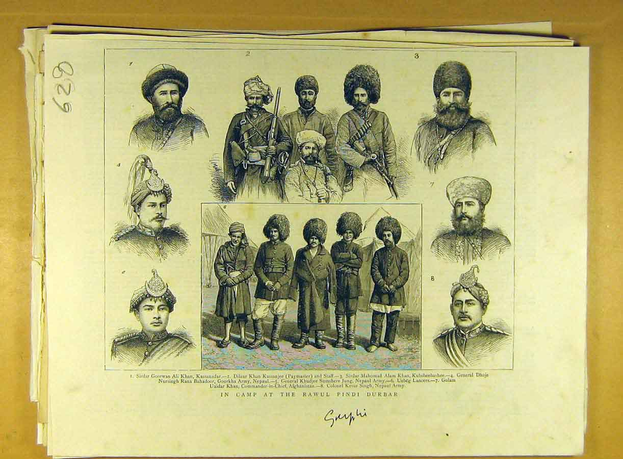 Print Camp Rawul Pindi Durbar Military Portraits People 288791 Old Original