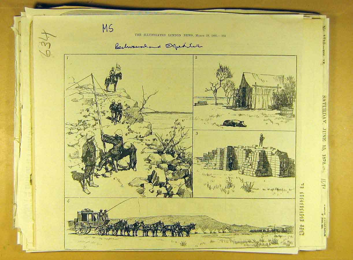 Print 1885 Behuanaland Expedition Africa African 348791 Old Original