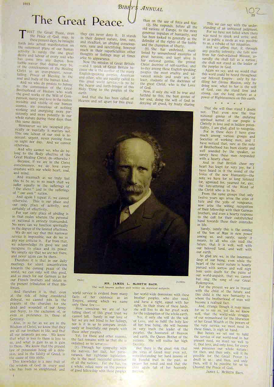 Print 1915 Portrait James Mcbeth-Bain Wuthor Write Mystical 028811 Old Original