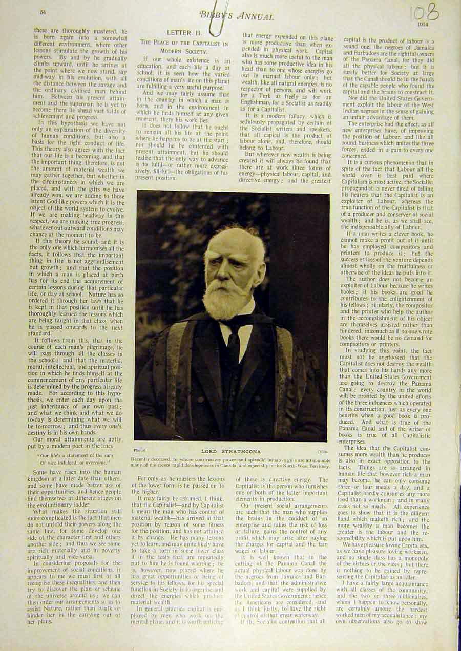 Print 1914 Portrait Lord-Strathcona 088811 Old Original