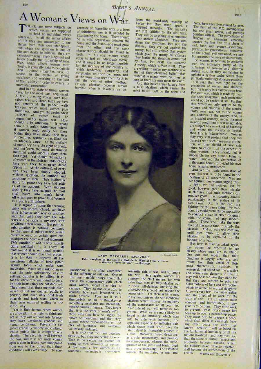 Print 1916 Portrait Lady Margaret-Scakville Women War Warr 118811 Old Original
