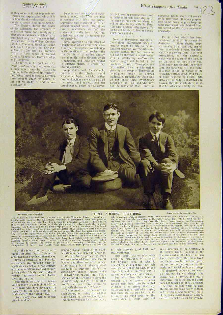 Print 1917 Three-Soldier Brothers Portrait Editor Sons Bibby 238811 Old Original