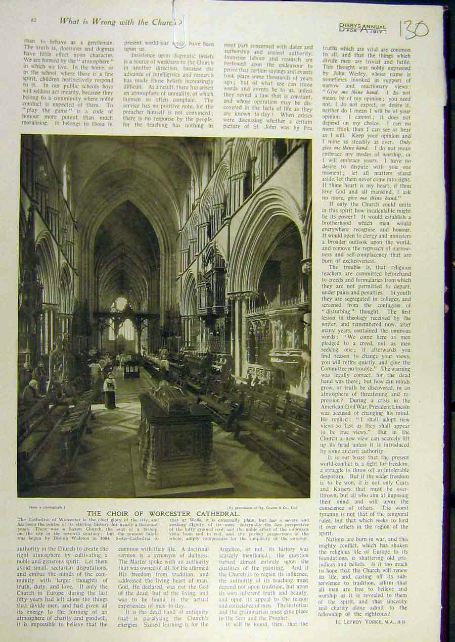 Print 1917 Choir Worcester Cathedral Building 308811 Old Original