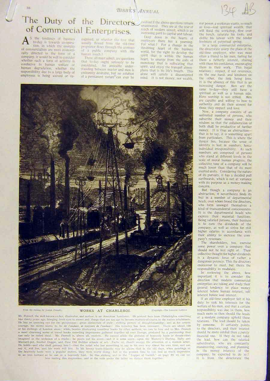Print 1916 Works Charleroi Copper Cardiff Industry Pennell 34A8811 Old Original