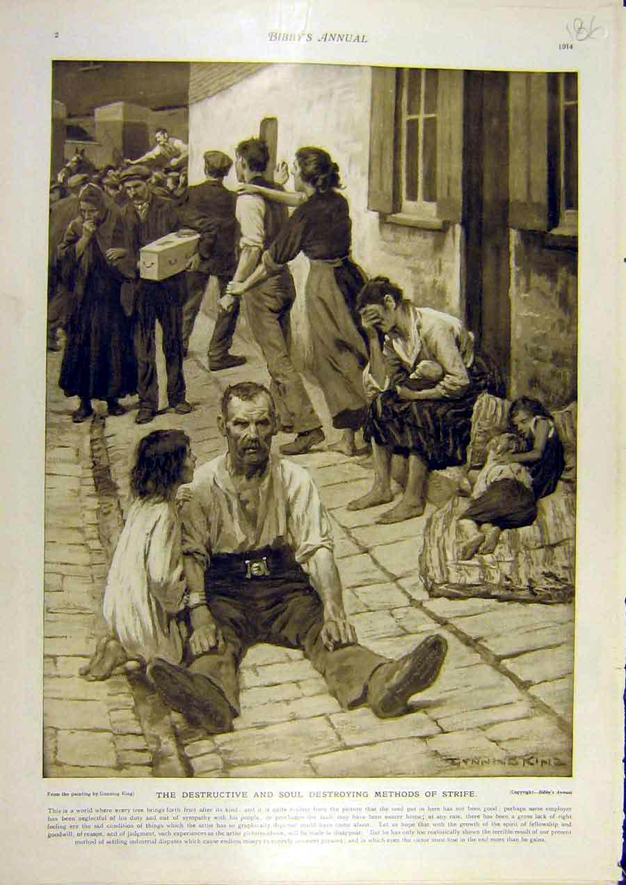 Print 1914 Strife Gunning-King Unemployed Poor People 868811 Old Original