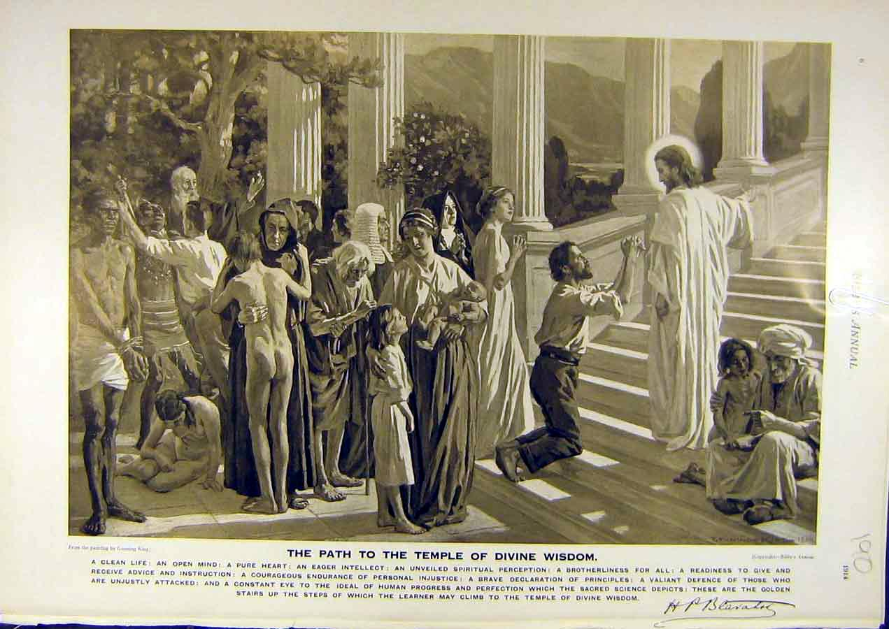Print 1914 Path Temple Divine-Wisdom Gunning-King Fine Art 908811 Old Original