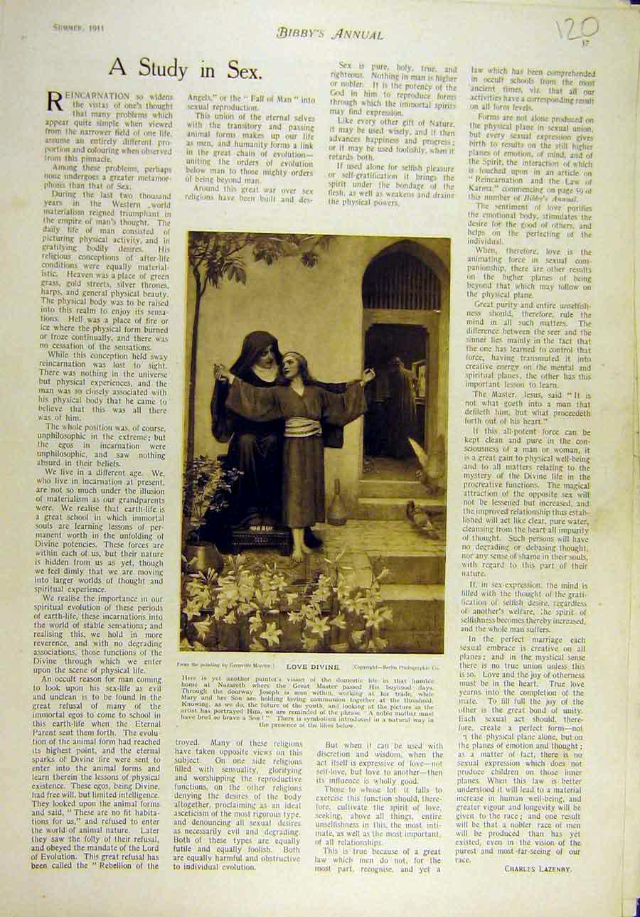 Print 1911 Manton Love-Divine Nun Child Nazareth 208821 Old Original