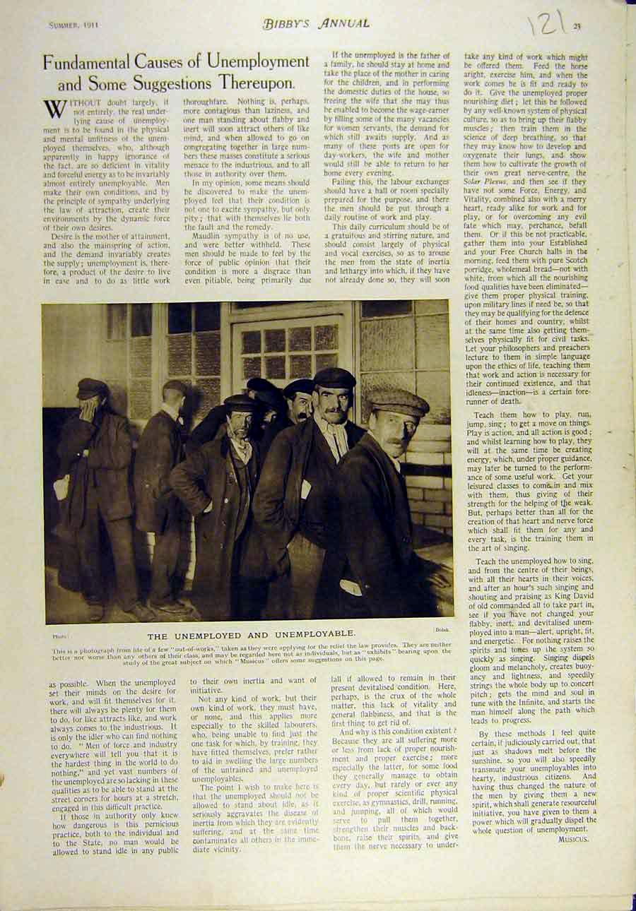 Print 1911 Unemployed Enemployable People Out-Of-Works 218821 Old Original