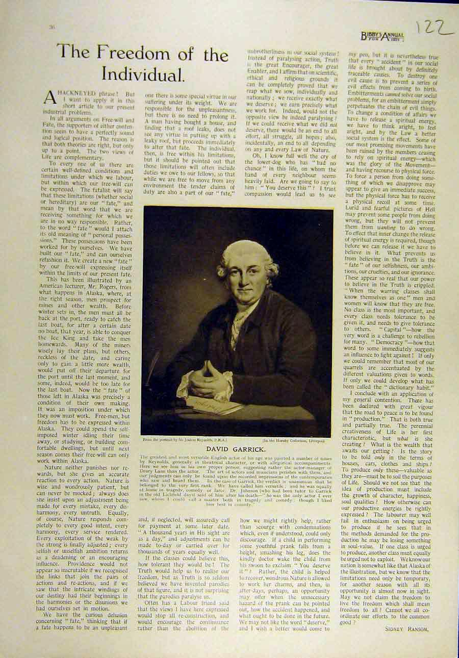 Print 1921 Reynolds Portrait David-Garrick Actor English 228821 Old Original