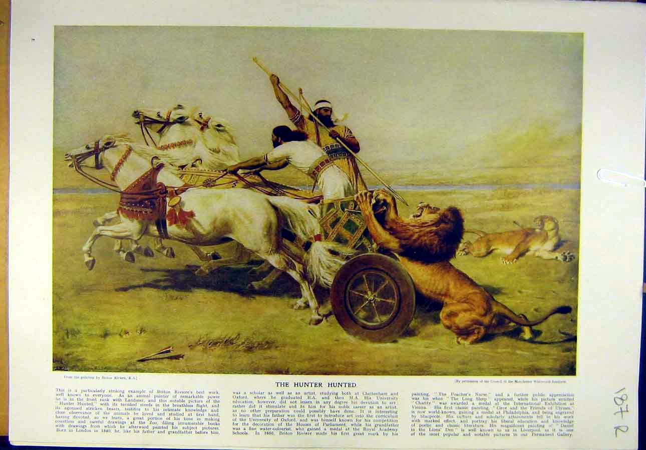 Print 1922 Riviere Hunter Lion Chariot Watts Woman Fine Art 87R8821 Old Original