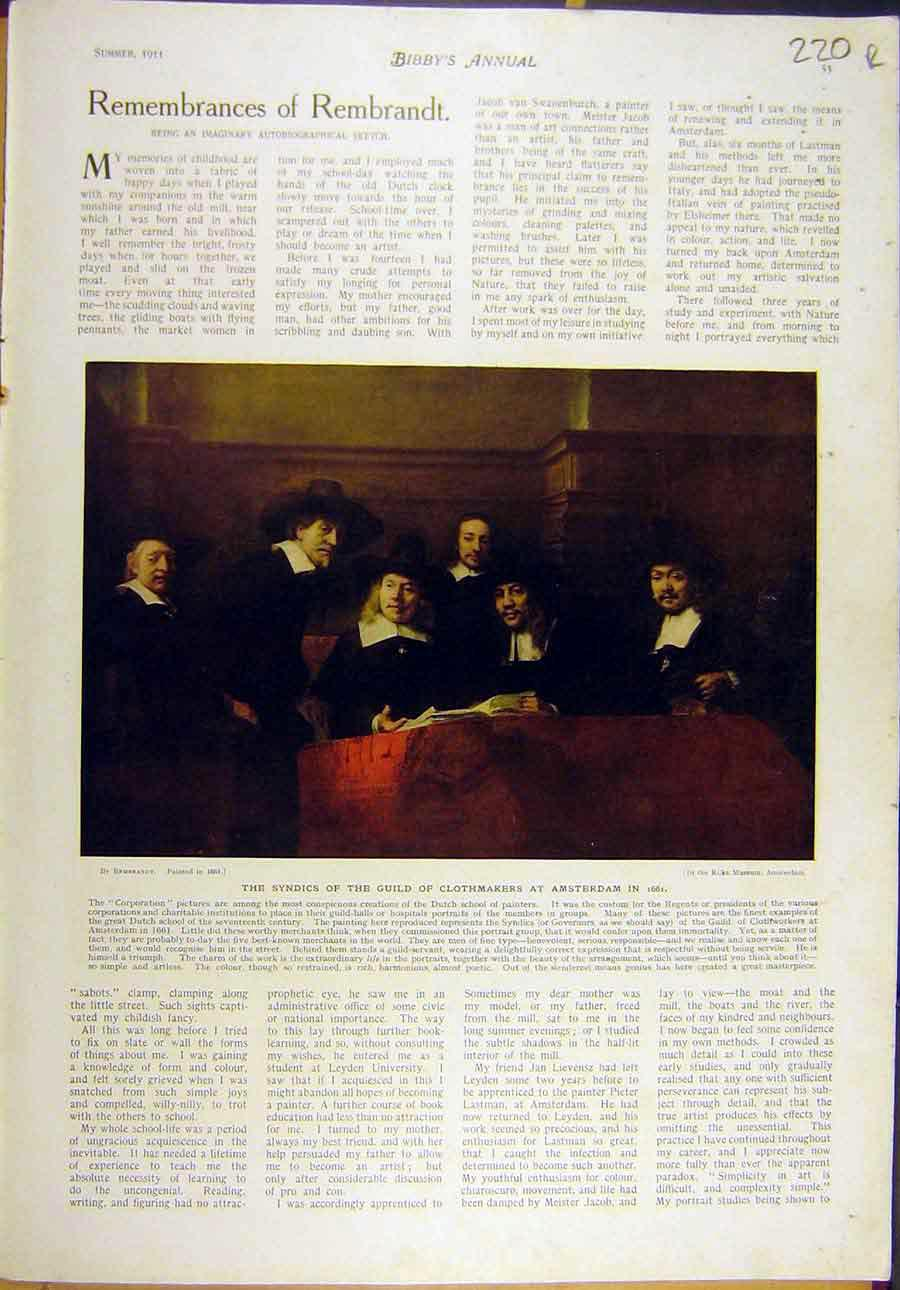 Print 1911 Rembrandt Clothmakers Amsterdam Self-Portrait 20R8821 Old Original