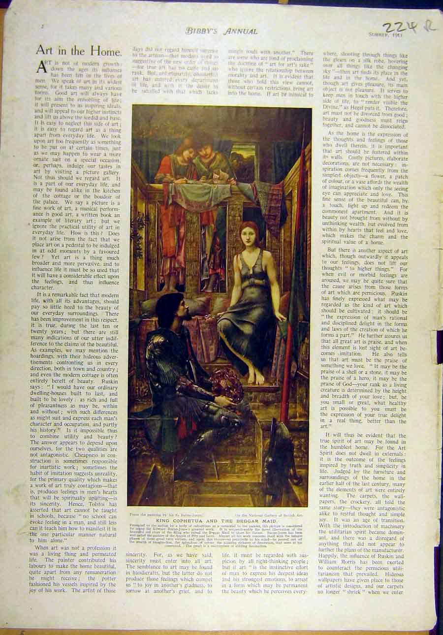 Print 1911 Burne-Jones Fine Art Cophetua Astronomer Vermeer 24R8821 Old Original