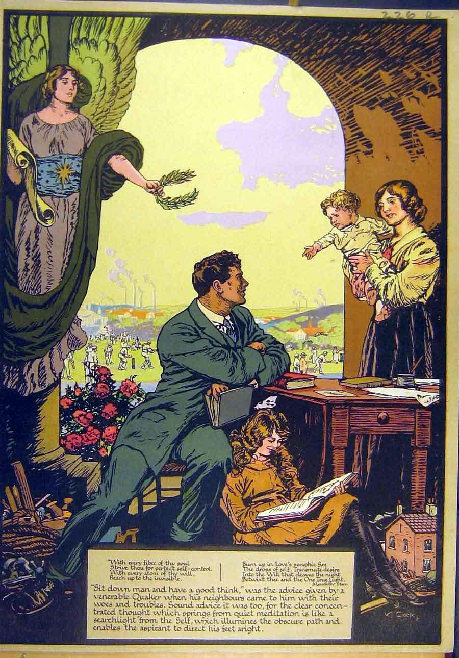 Print 1921 Family Man Quaker Castle Mediaeval Prince 26R8821 Old Original