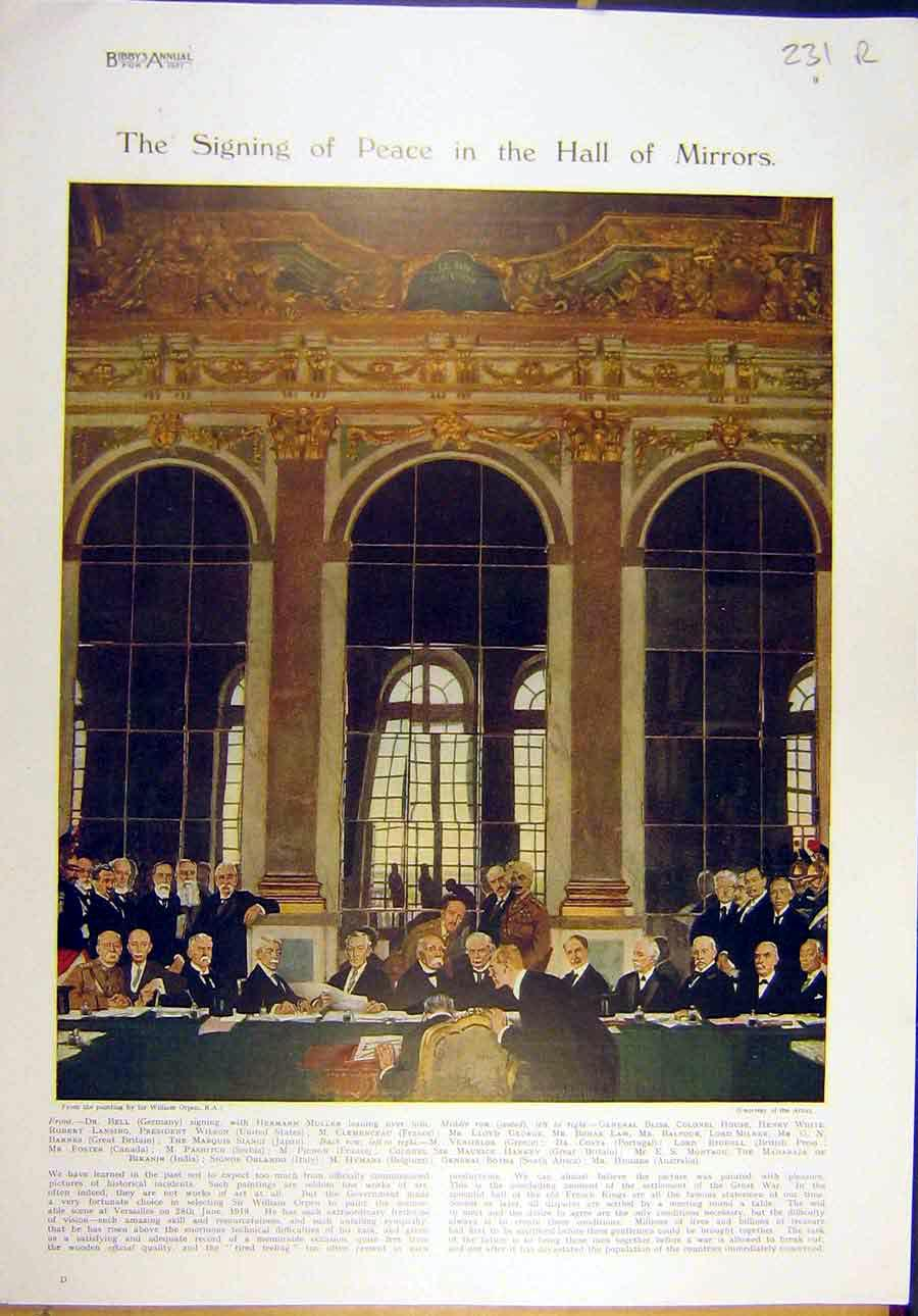 Print 1921 Peace Treaty Muller George Hall Mirrors Armour 31R8821 Old Original