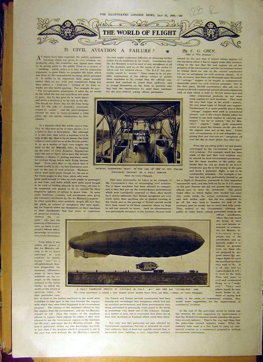 Print 1919 Flight Dirigible Flying-Bus Naval Admiral Squadron 28R8831 Old Original