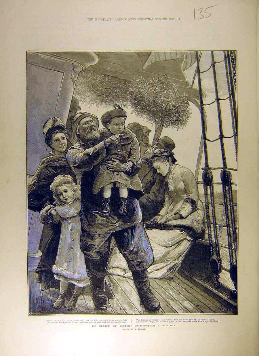 Print 1880 Journey Home Christmas Ship Sailor Family Boat 358831 Old Original