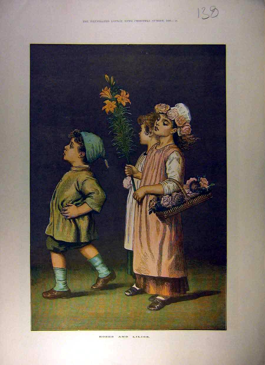 Print 1880 Drawing Roses Lilies Boy Girl Flower Fine Art 388831 Old Original