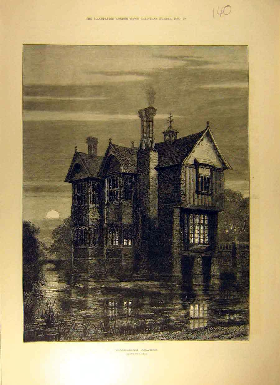 Print 1880 Woodleigh Grange Drawing Read Moat House 408831 Old Original