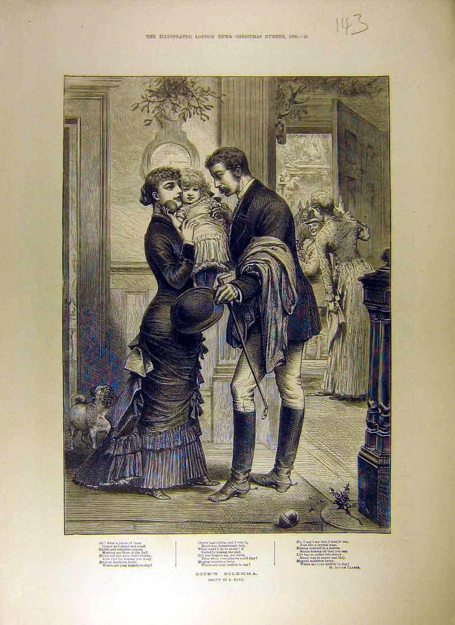 Print 1880 Poem Story Dick'S Dilemma Drawing Hunt Clarke 438831 Old Original