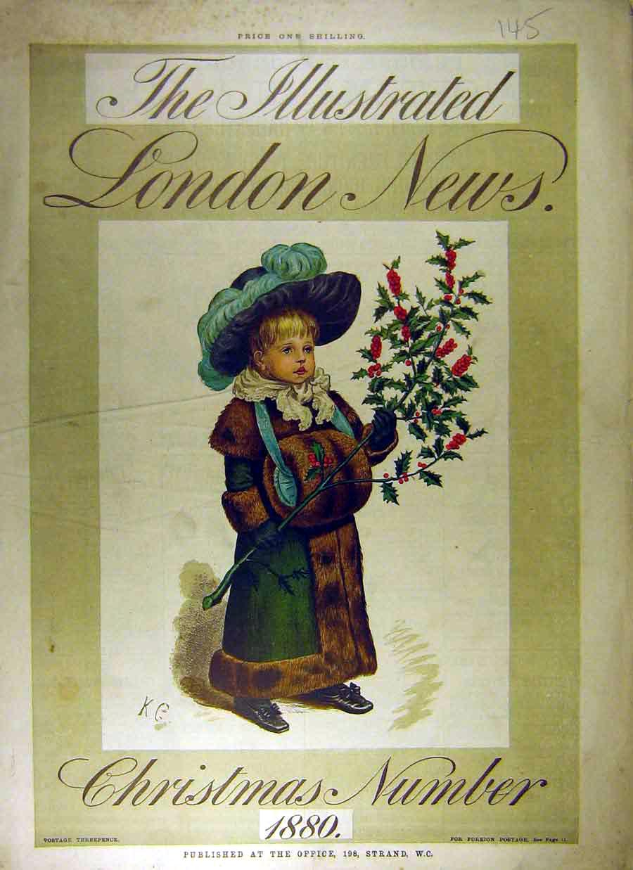 Print 1880 Iln Front Cover Christmas Holly Girl 458831 Old Original
