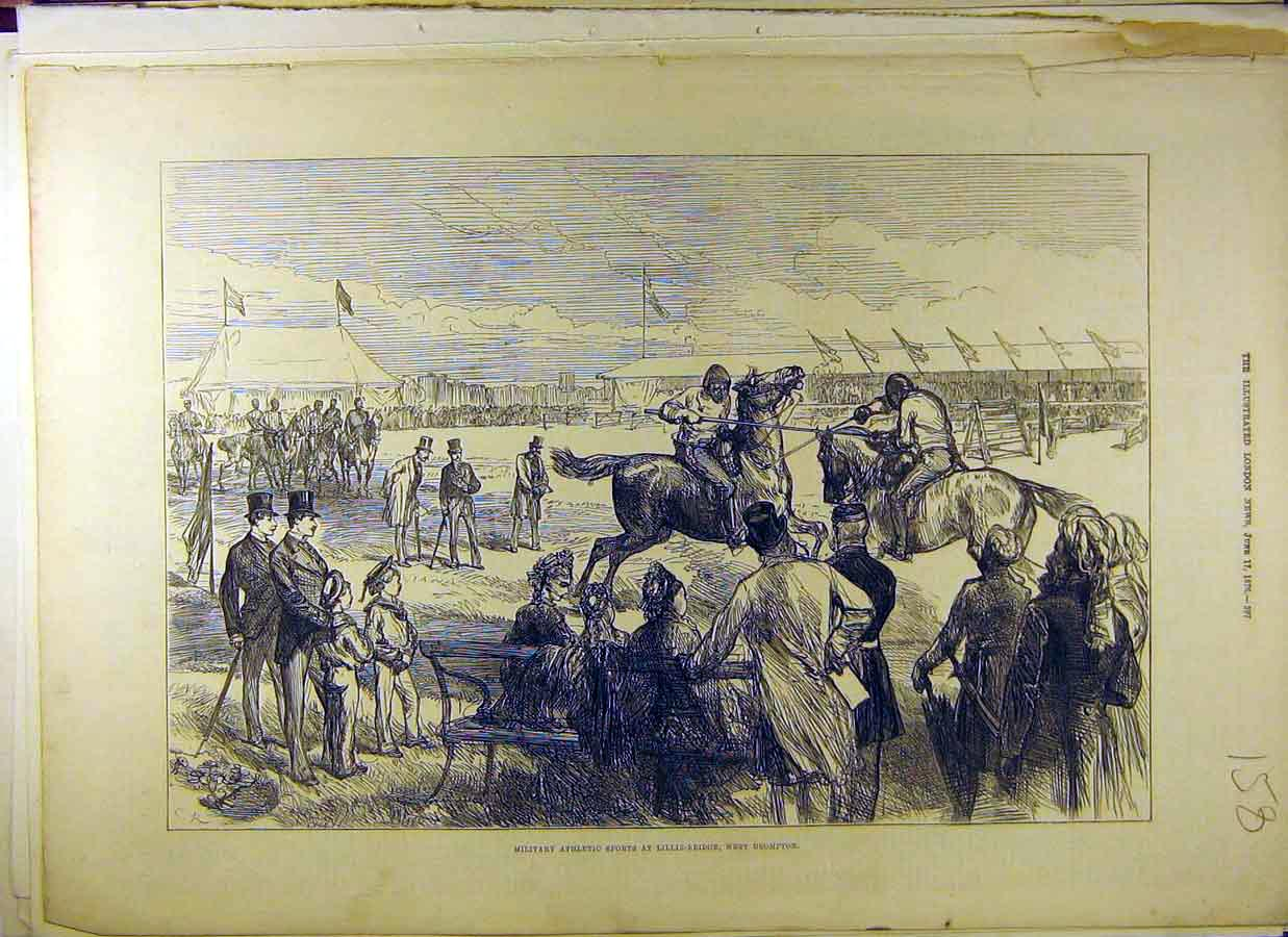 [Print 1876 Military Athletic Sport Lillie Bridge Brompton 588831 Old Original]