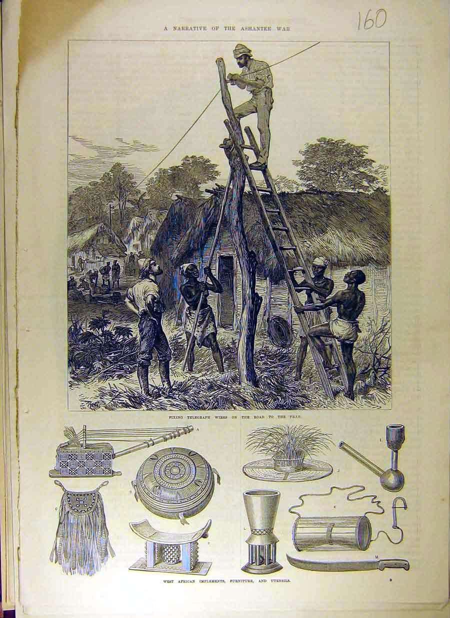 Print Ashantee War Native Implements Prah Repairs Telegraph 608831 Old Original