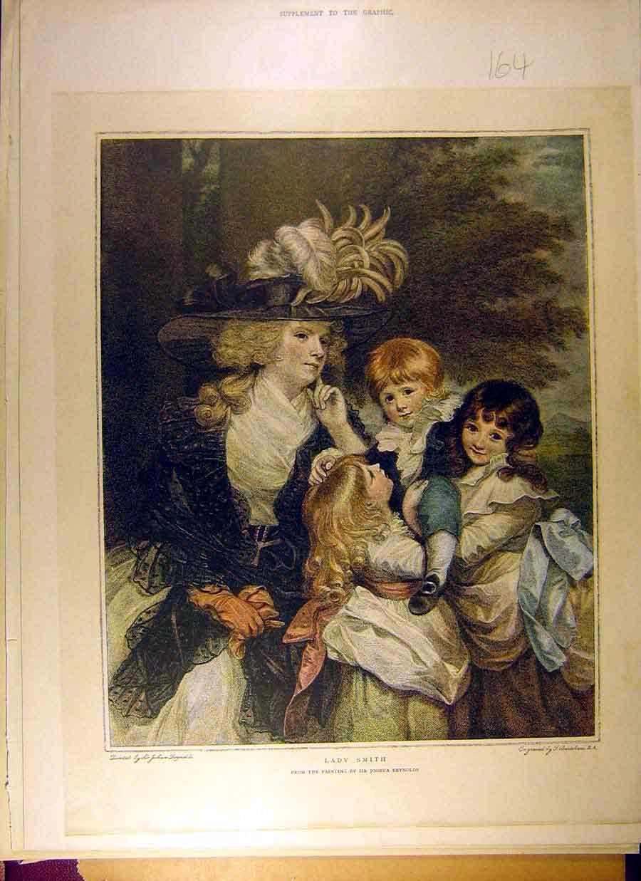 Print Painting Lady Smith Sir Reynolds Children Fine Art 648831 Old Original
