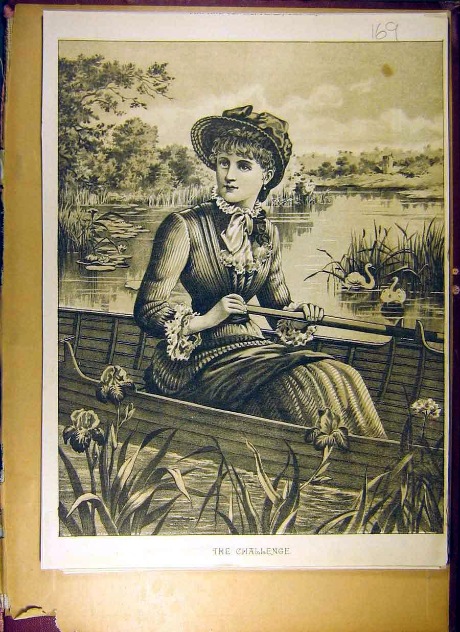 Print 1887 Pen Pencil Drawing Challenge Lady Boat River 698831 Old Original