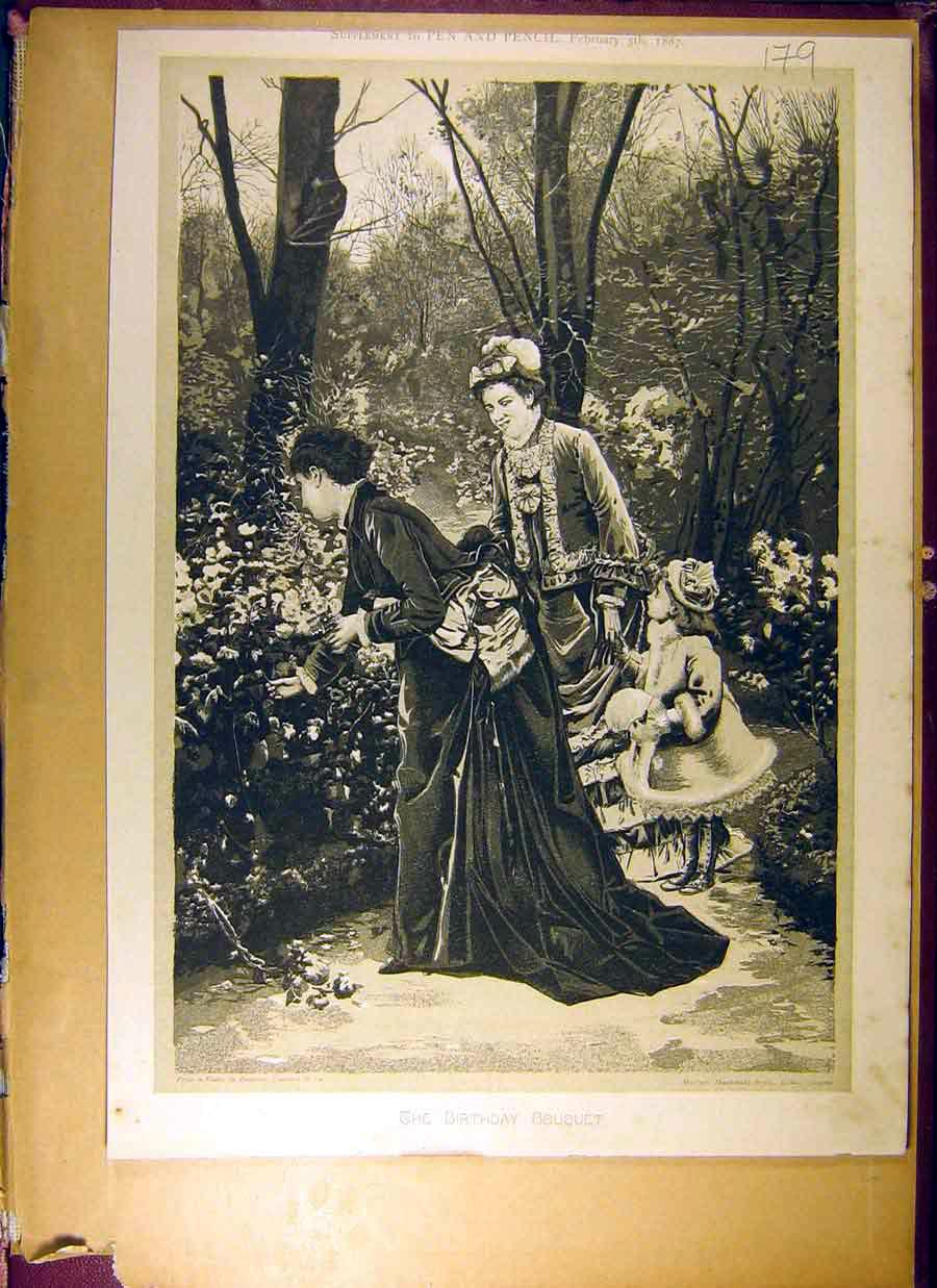 Print 1887 Birthday Bouquet Pen Pencil Girl Lady Flower 798831 Old Original