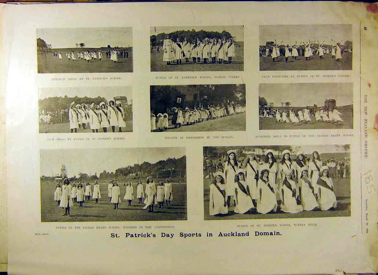Print 1904 Photos St.Patricks Day Sport Auckland Surrey Hills 858831 Old Original
