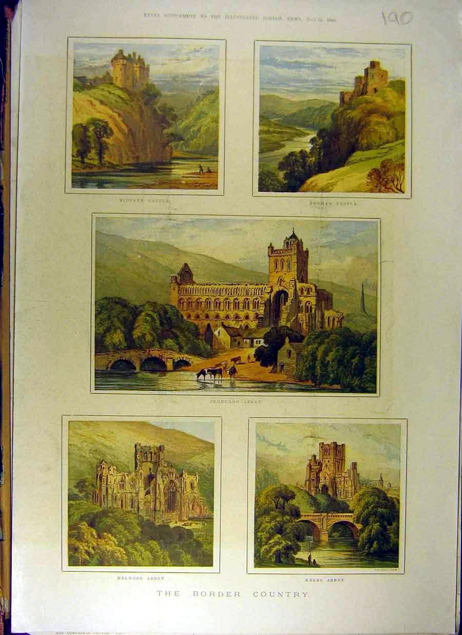 Print 1880Drawings Nidpath Abbey Kelso Melrose Jedburgh 908831 Old Original