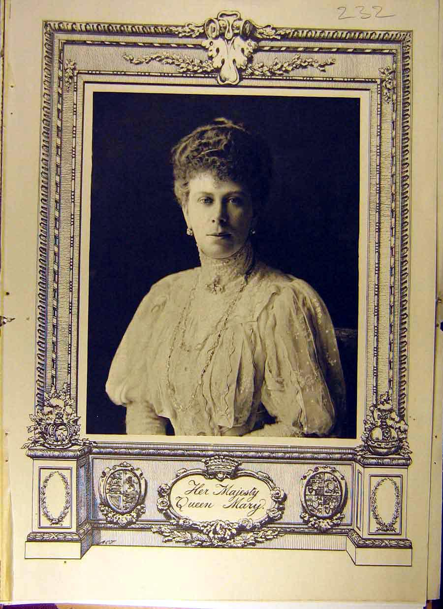 Print 1911 Queen Mary Royal Portrait 328831 Old Original
