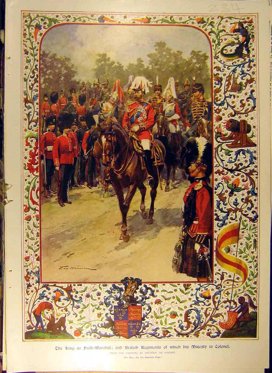 Print 1911 King George-V Field-Marshall Haenen Colonel 348831 Old Original
