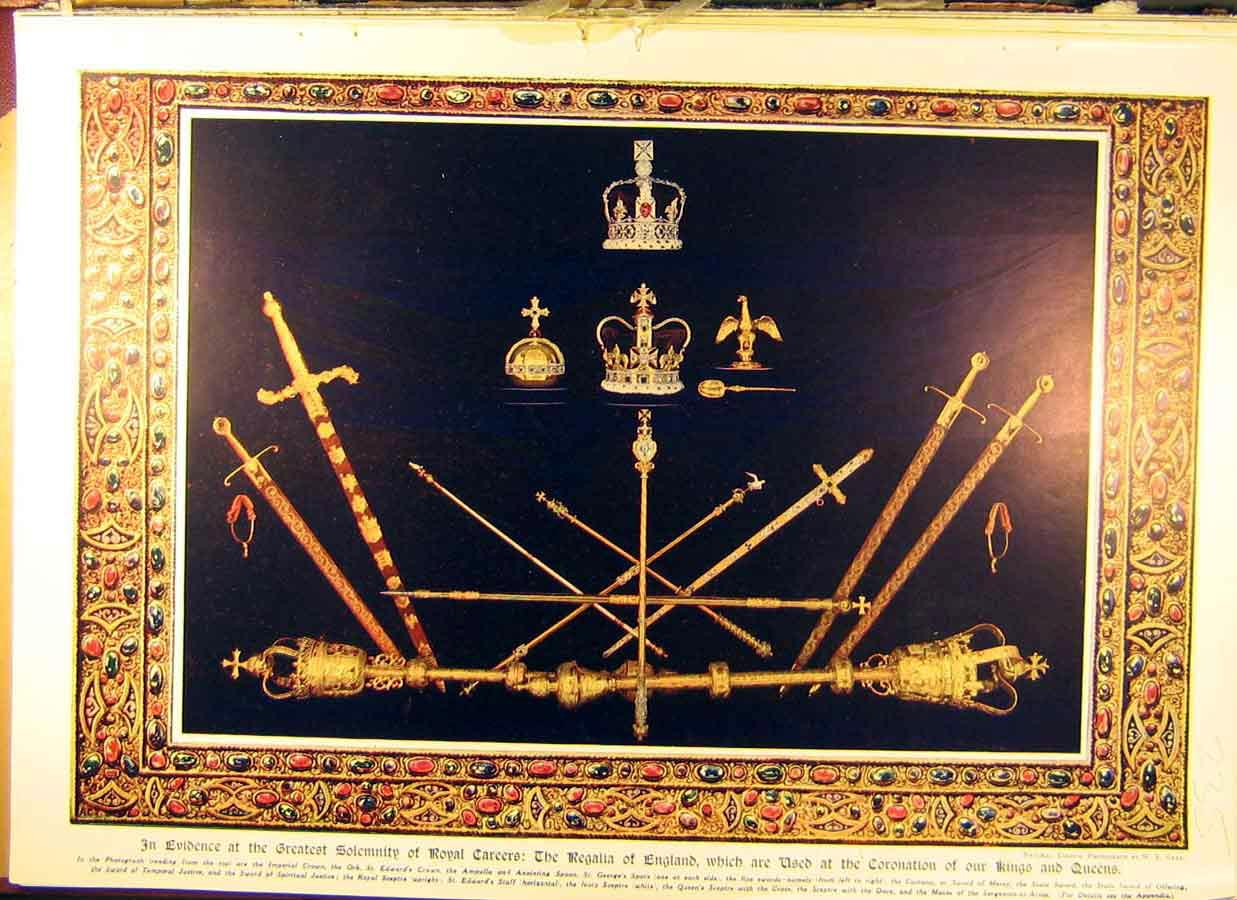 Print 1911 King George-V Queen Mary Coronation Swords Royal 358831 Old Original