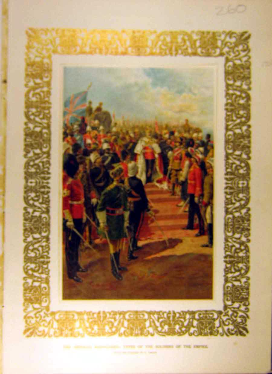 Print 1902 Imperial Bodyguard Soldiers Empire Amato King 608831 Old Original