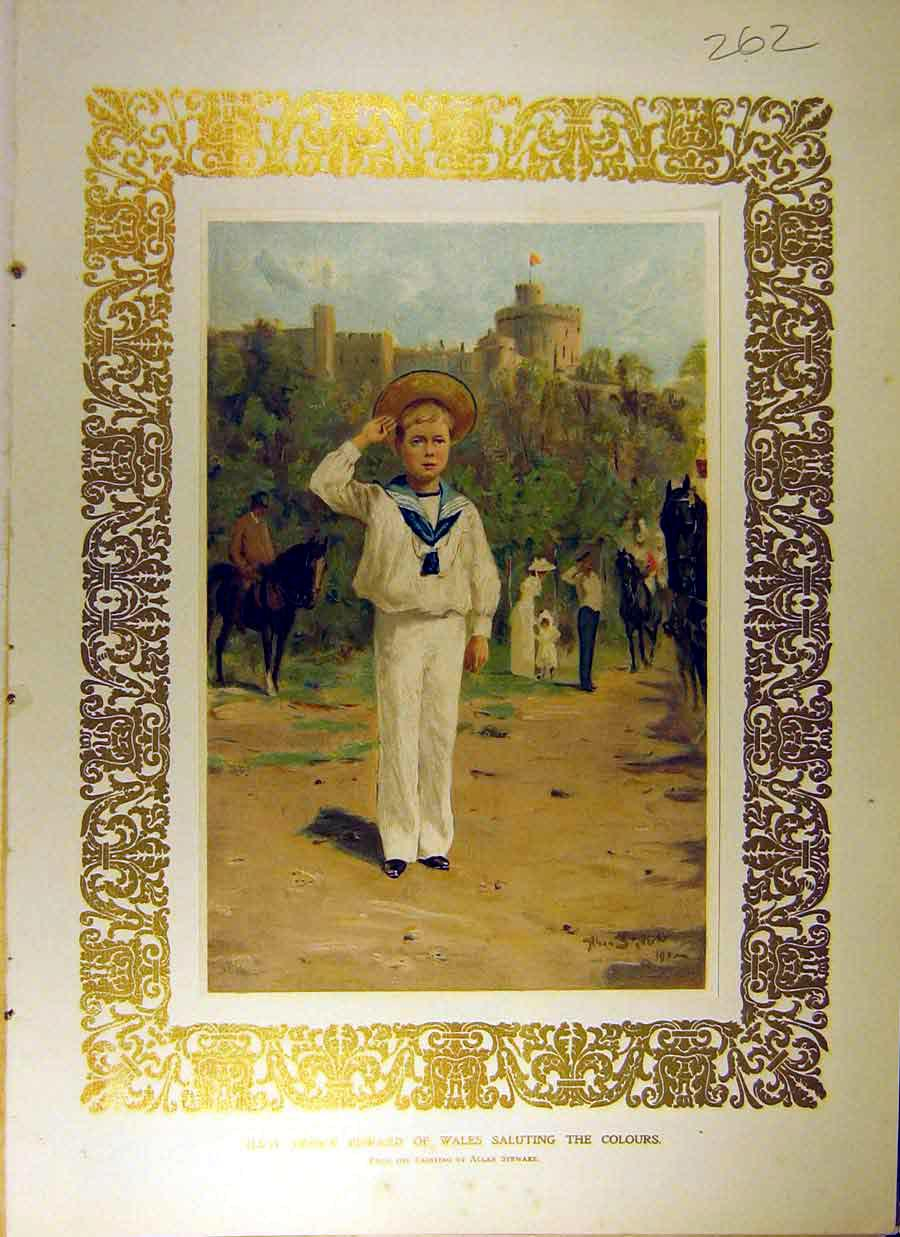 Print 1902 Royal Portrait Prince Edward Wales Salute Colours 628831 Old Original