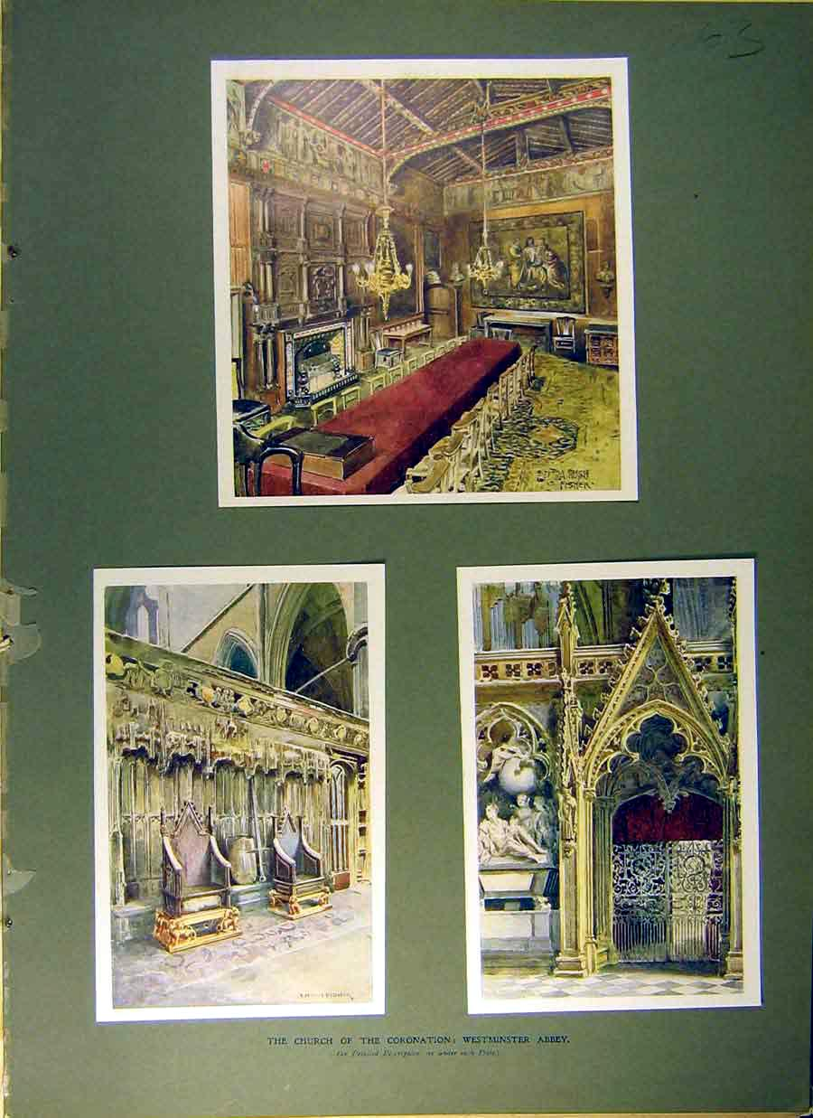 Print 1902 Church Coronation Westminster Abbey Building 638831 Old Original
